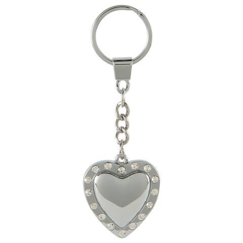 Pilot Automotive Silver Crystal Heart Key Chain