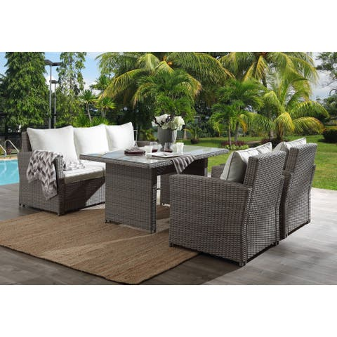 Wariuro 4-piece Grey Wicker Patio Set with Cushions by Havenside Home