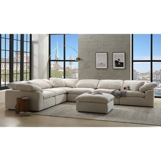 Link to Copper Grove Chadir Modular Ivory Linen Armless Chair (Armless Chair Only) Similar Items in Living Room Chairs