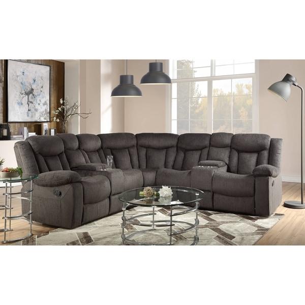 ACME Rylan Sectional Sofa in Dark Brown Fabric