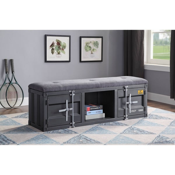 ACME Cargo Storage Bench in Gray Fabric & Gunmetal