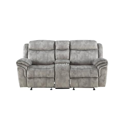 Copper Grove Mudiyah 2-tone Grey Velvet Loveseat with USB Dock and Console