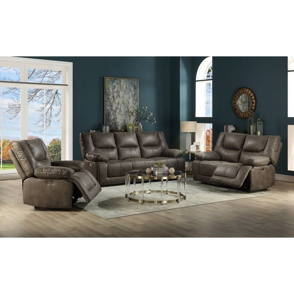 Shop ACME Harumi Power Motion Sofa in Gray Leather-Aire ...
