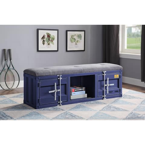 ACME Cargo Storage Bench in Gray Fabric & Blue