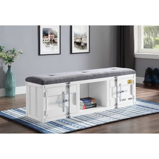ACME Cargo Storage Bench in Gray Fabric & White