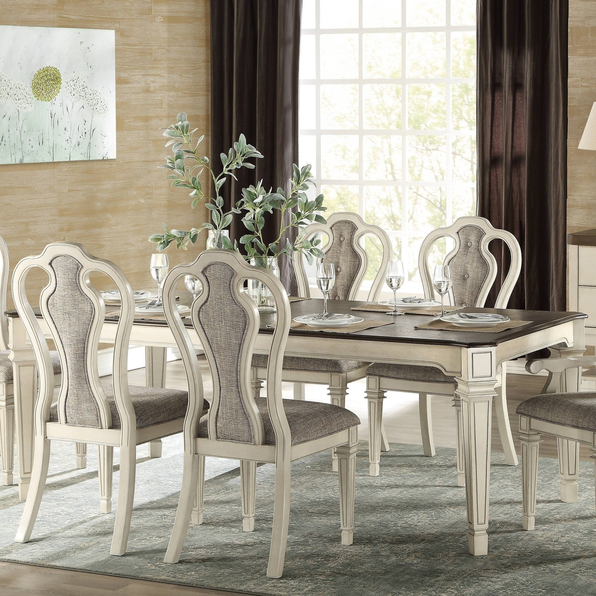 The Gray Barn Rooney Antique White And Dark Oak Dining Table Overstock 28232537