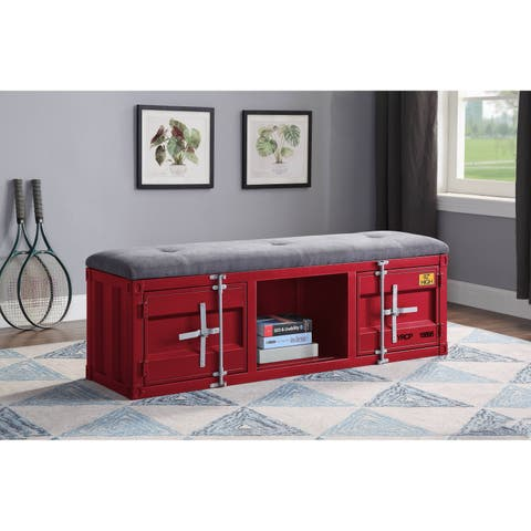 ACME Cargo Storage Bench in Gray Fabric & Red