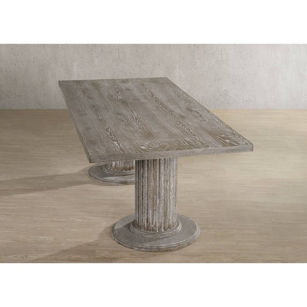The Gray Barn Mulberry Lodge Reclaimed Grey Dining Table with Double Pedestal