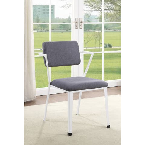 ACME Cargo Dining Chair (Set of 2) in Gray Fabric & White