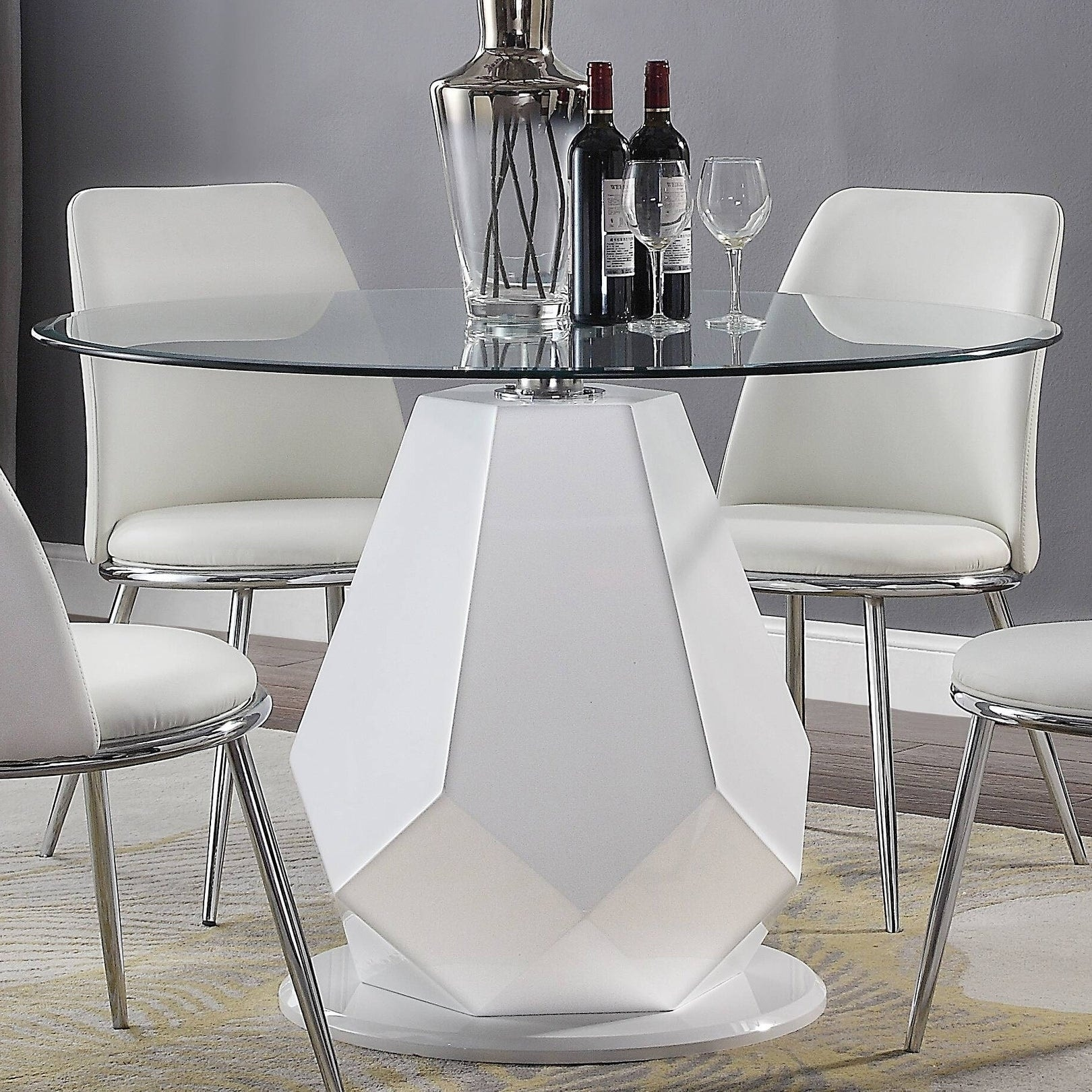 Silver Orchid Brody White High Gloss Dining Table Overstock 28232572