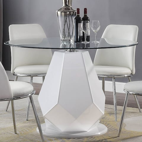 Silver Orchid Brody White High Gloss Dining Table