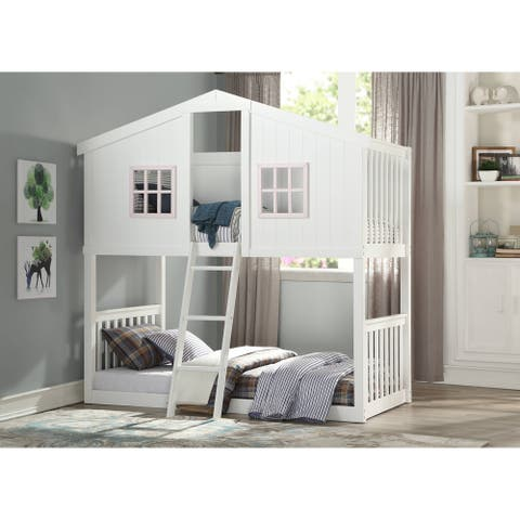 Taylor & Olive Collomia White/ Pink Twin-over-Twin Bunk Bed
