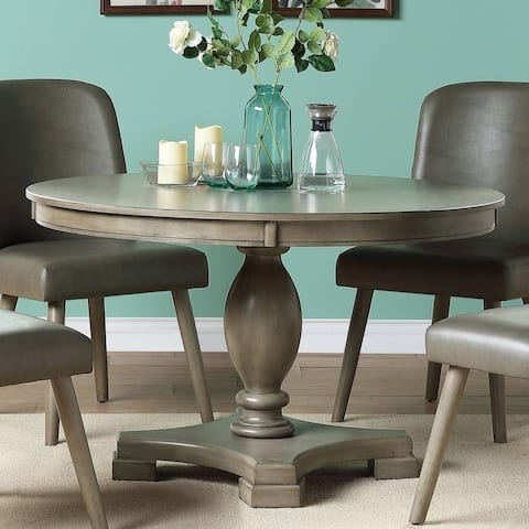 The Gray Barn Bag End Grey Oak Dining Table with Single Pedestal