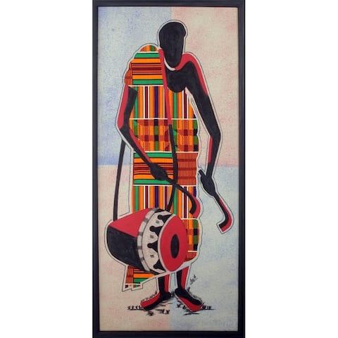 Handmade Talking Drum Kente cloth wall art (Ghana)