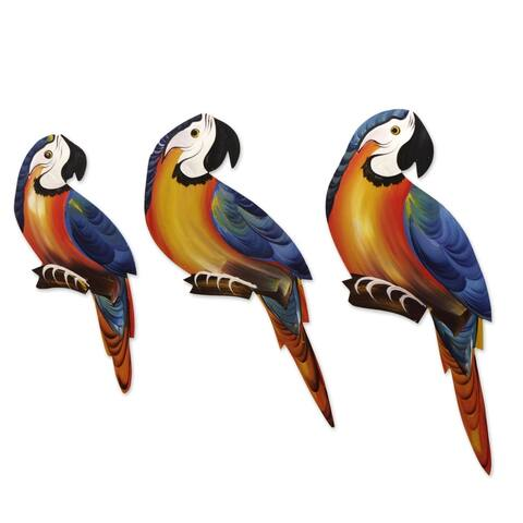 Handmade Macaw Trio Wood wall adornments (yellow and blue)(Brazil)