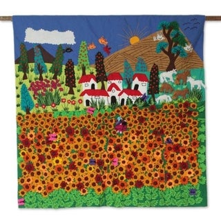 Ancash Fields of Sunflowers Applique wall hanging