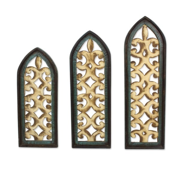 Handmade Romanticism Metal and wood wall panels (set of 3)(Mexico). Opens flyout.