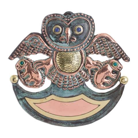 Handmade Ceremonial Owl Copper and gemstone wall art (Peru)