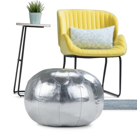 Silver Orchid Jim Gold Faux Leather Round Pouf