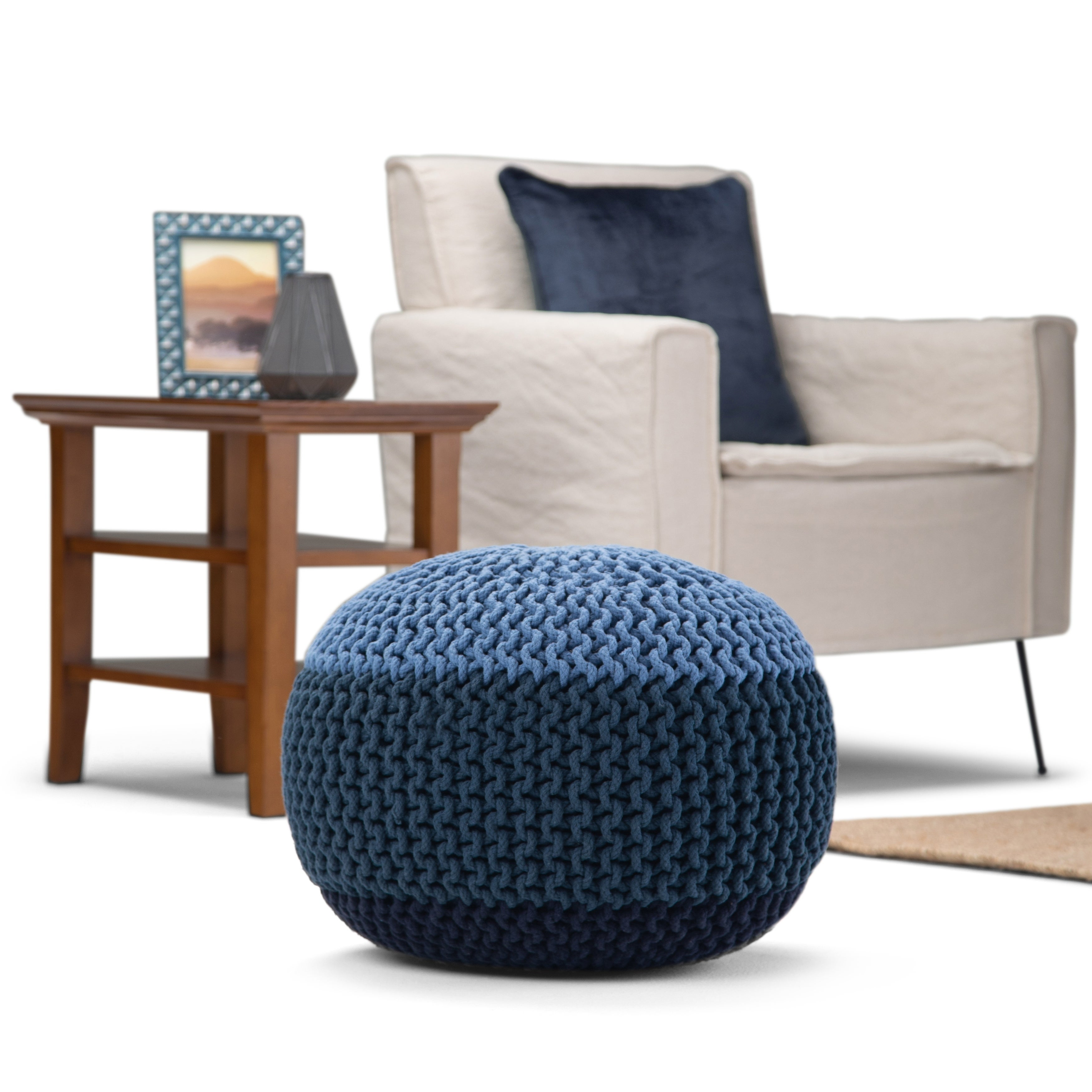 The Curated Nomad Holladay Round Hand Knit Pouf In Blue Navy Cotton Overstock 28233530