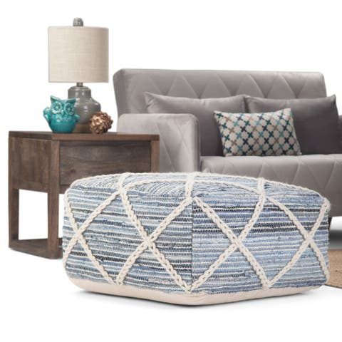 The Curated Nomad Holladay Square Pouf in Blue/Natural Handloom Woven Pattern -20x20x10