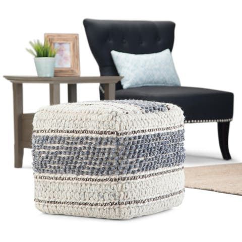WYNDENHALL Heyfield Boho Square Pouf in Blue, Natural Handloom Woven