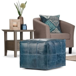 WYNDENHALL Rubin Contemporary Square Pouf in Teal Leather