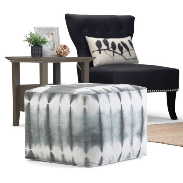 Wondrous Shop Brewster Contemporary Square Pouf In Grey Tie Dye Look Pdpeps Interior Chair Design Pdpepsorg