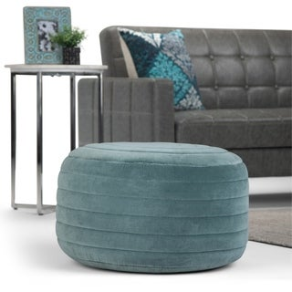 The Curated Nomad Holladay Round Pouf in Turquoise Velvet