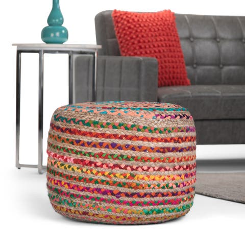 The Curated Nomad Holladay Round Pouf in Multicolor Braided Jute