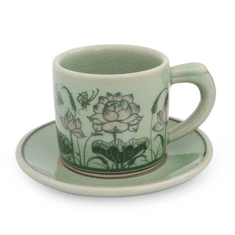 Handmade Butterflies ceramic demitasse cup and saucer (Thailand)