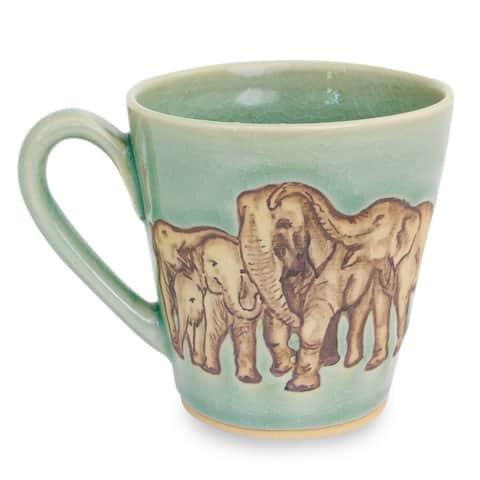 Handmade Cozy Family Celadon ceramic mug (Thailand)