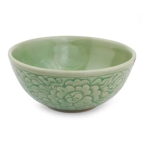 Handmade Green Peony Celadon ceramic bowl (Thailand)