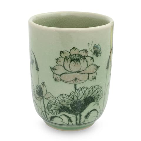 Handmade Pink Lotus Butterflies Celadon Ceramic Teacup (Thailand)