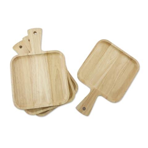 Handmade Natural Splendor Wood plates (set of 4) (Thailand)