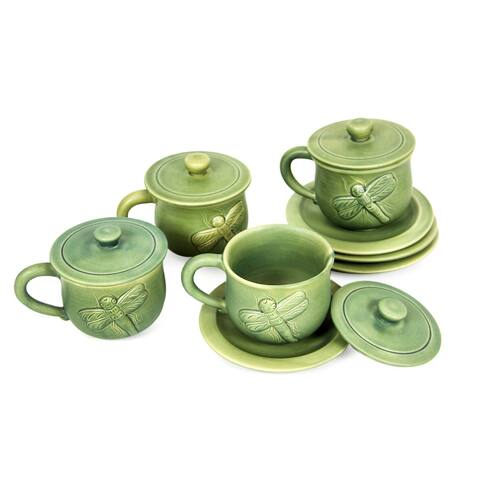 Handmade Dragonfly Ceramic cups and saucers (set for 4)(Indonesia)