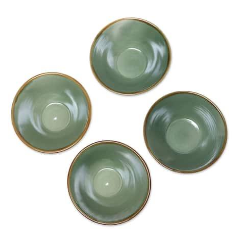 Handmade Green Splendor Ceramic bowls (set of 4) (Indonesia)