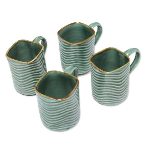 Handmade Banana Vibes Ceramic Mugs, Set of 4 (Indonesia)