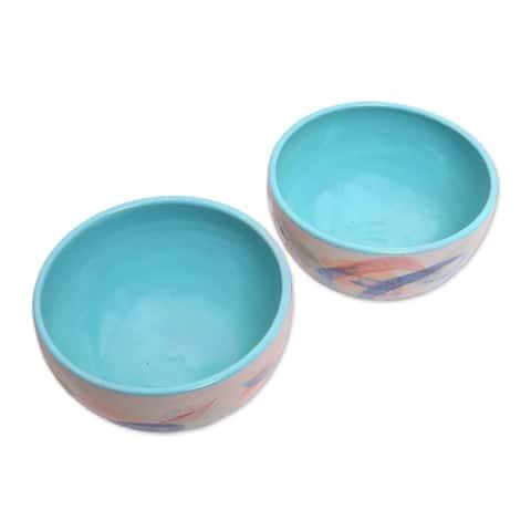Handmade Blue Eden Ceramic bowls (pair)(Indonesia)