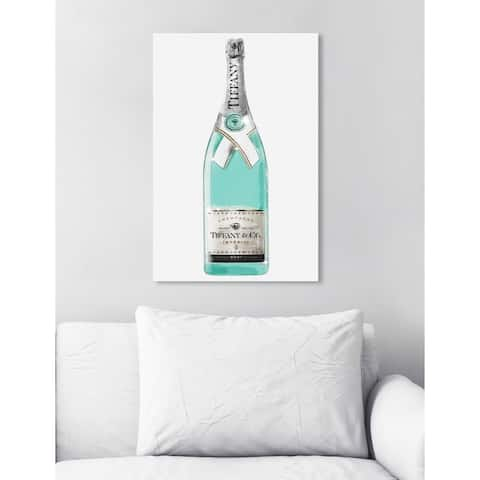 Oliver Gal 'Priceless Champagne' Drinks and Spirits Wall Art Canvas Print - Blue, Gray