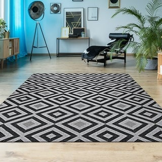 Link to Porch & Den Carlson Black and White Indoor-Outdoor Area Rug Similar Items in Transitional Rugs