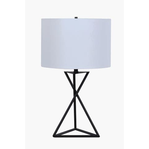 """White and Black Drum Table Lamp - 15"""" x 15"""" x 26"""" (As Is Item)"""