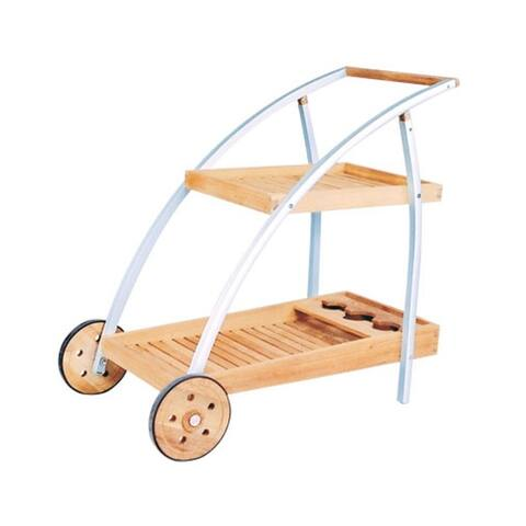 Natural Teak/Aluminum Bar Cart