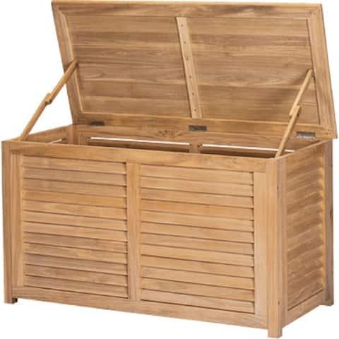 Poolside Teak Outdoor Storage Cushion Box