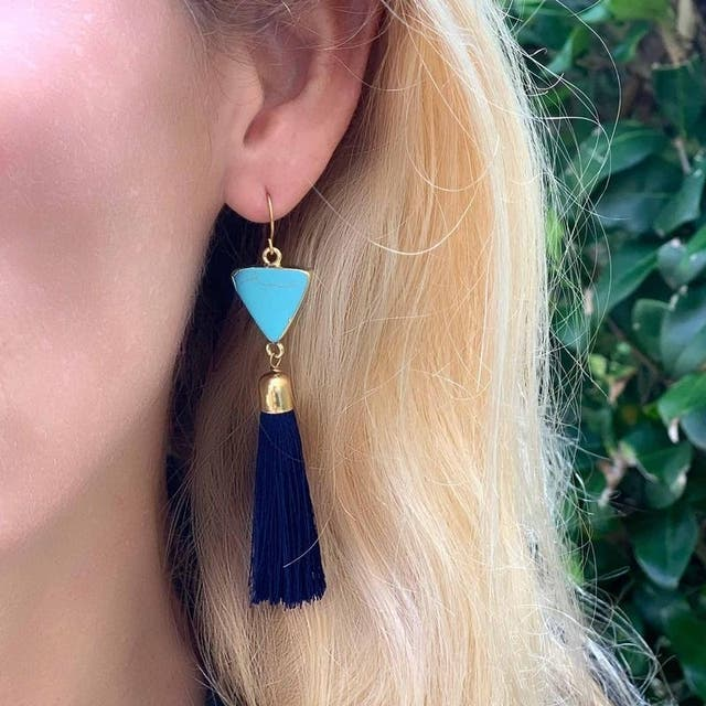 Gold and Turquoise Triangle Tassle Earrings