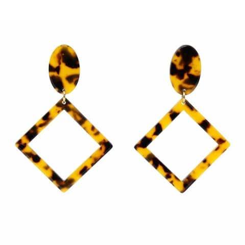 The Curated Nomad Crys Tortoiseshell Diamond-shape Acetate Earrings