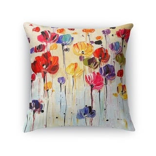 Kavka Designs red/ orange/ purple/ blue/ green dancing flowers accent pillow with insert