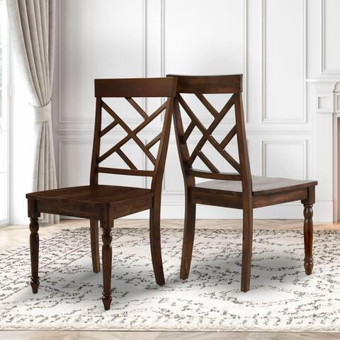 Abbyson Kingston Brown Dining Chair (Set of 2)