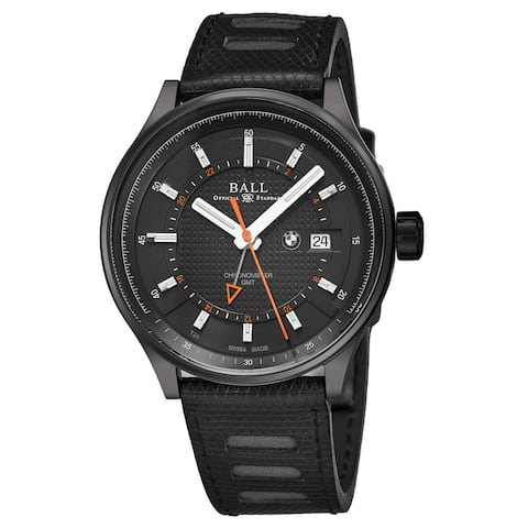 Ball Men's GM3010C-P1CFJBK 'BMW' Black Dial Black Leather Strap GMT Swiss Automatic Watch