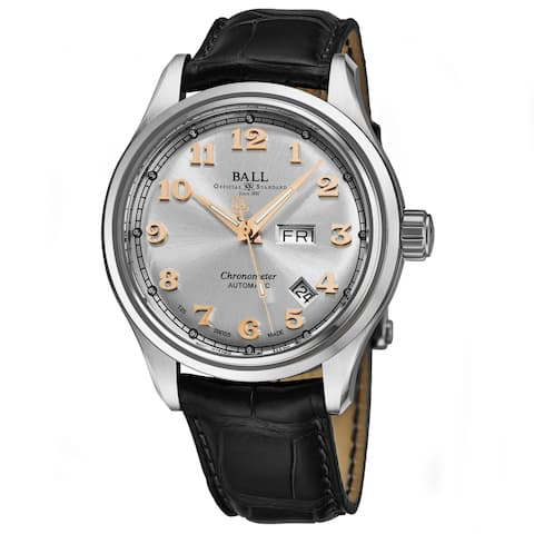 Ball Men's NM1058D-LCJSLRG 'Train Cleveland' Silver Dial Black Leather Strap Date Day Swiss Automatic Watch